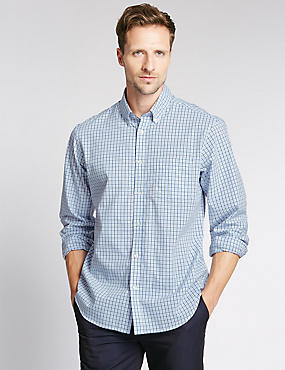 Big & Tall Pure Cotton Long Sleeve Checked Shirt, CHAMBRAY, catlanding