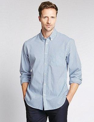 Big & Tall Pure Cotton Long Sleeve Checked Shirt, CHAMBRAY, catlanding