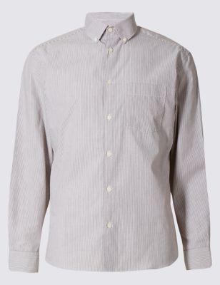 Слегка приталенная рубашка из чистого хлопка с воротником на пуговицах