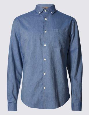 Повседневная фактурная рубашка из чистого хлопка с длинным рукавом