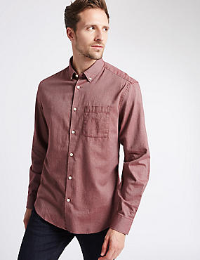 Pure Cotton Long Sleeve Shirt, BURGUNDY, catlanding