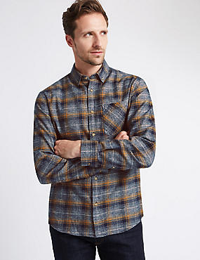 Pure Cotton Long Sleeve Checked Shirt, NAVY MIX, catlanding