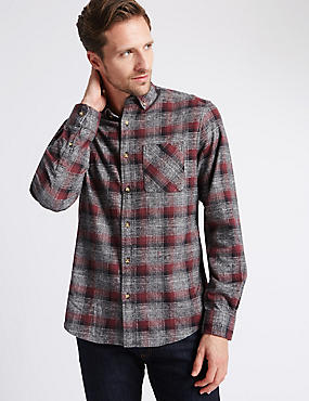 Pure Cotton Long Sleeve Checked Shirt, OXBLOOD, catlanding