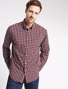 Big & Tall Pure Cotton Checked Shirt, BURGUNDY, catlanding