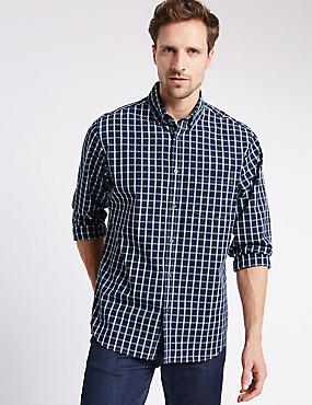 Big & Tall Pure Cotton long Sleeve Checked Shirt, FRENCH NAVY, catlanding