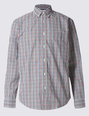 Классическая рубашка из чистого хлопка в мелкую клетку гингам