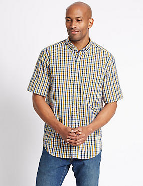 Pure Cotton Gingham Shirt with Pocket, ANTIQUE GOLD, catlanding