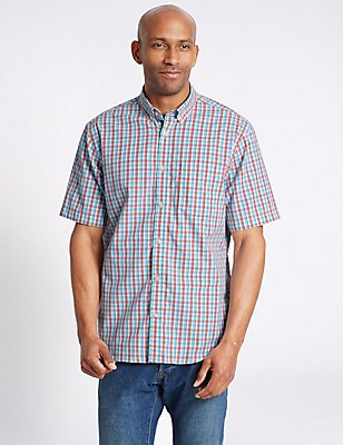 Pure Cotton Gingham Shirt with Pocket, TURQUOISE MIX, catlanding