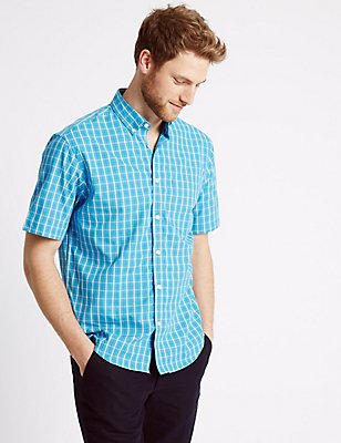 Pure Cotton Checked Shirt, , catlanding