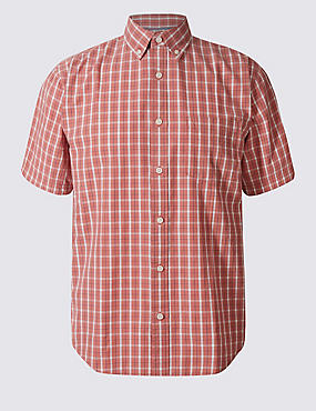 Pure Cotton Checked Shirt with Pocket, POPPY MIX, catlanding