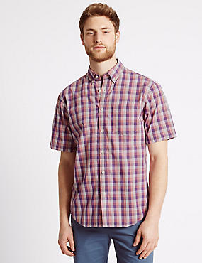 Pure Cotton Checked Shirt with Pocket, LILAC, catlanding
