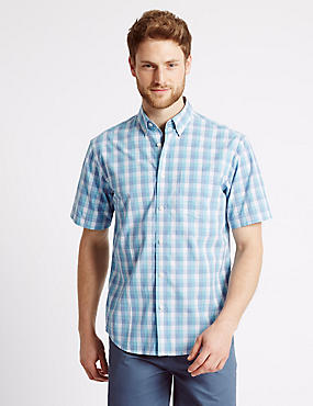 Pure Cotton Checked Shirt with Pocket, TURQUOISE, catlanding