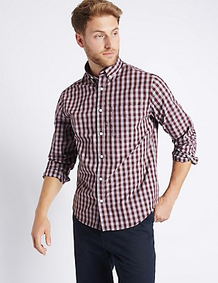 Pure Cotton Checked Shirt with Pocket, AUBERGINE, catlanding