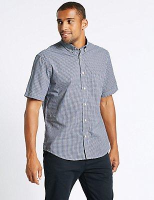 Pure Cotton Checked Shirt, DARK MARINE, catlanding