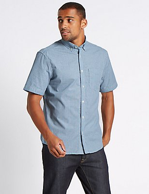 Pure Cotton Checked Shirt with Pocket, TEAL, catlanding