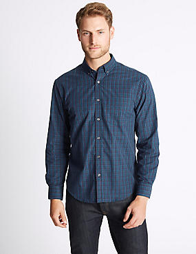 Soft Touch Pure Cotton Gingham Shirt, MULBERRY MIX, catlanding