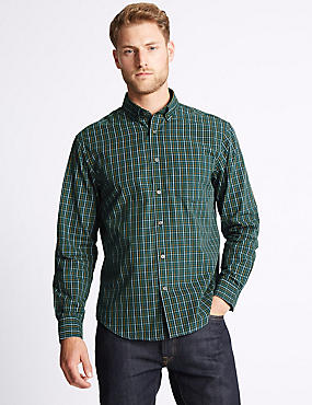Soft Touch Pure Cotton Gingham Shirt, DARK GREEN MIX, catlanding