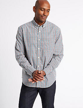 Soft Touch Pure Cotton Multi Gingham Shirt, MULBERRY MIX, catlanding