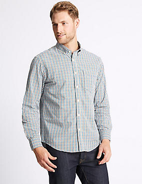 Soft Touch Pure Cotton Multi Gingham Shirt, AMBER MIX, catlanding
