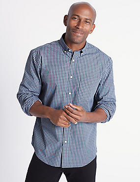 Soft Touch Pure Cotton Checked Shirt, SKY BLUE, catlanding