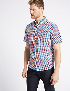 Pure Cotton Checked Shirt with Pocket, RUBY, catlanding