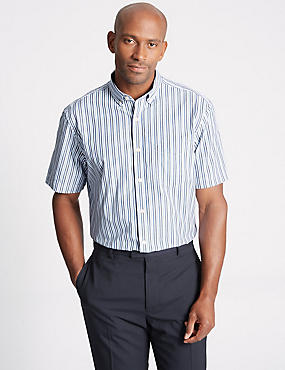 Pure Cotton Striped Shirt with Pocket, ROYAL BLUE, catlanding