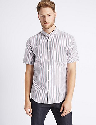 Pure Cotton Striped Shirt with Pocket, OXBLOOD, catlanding