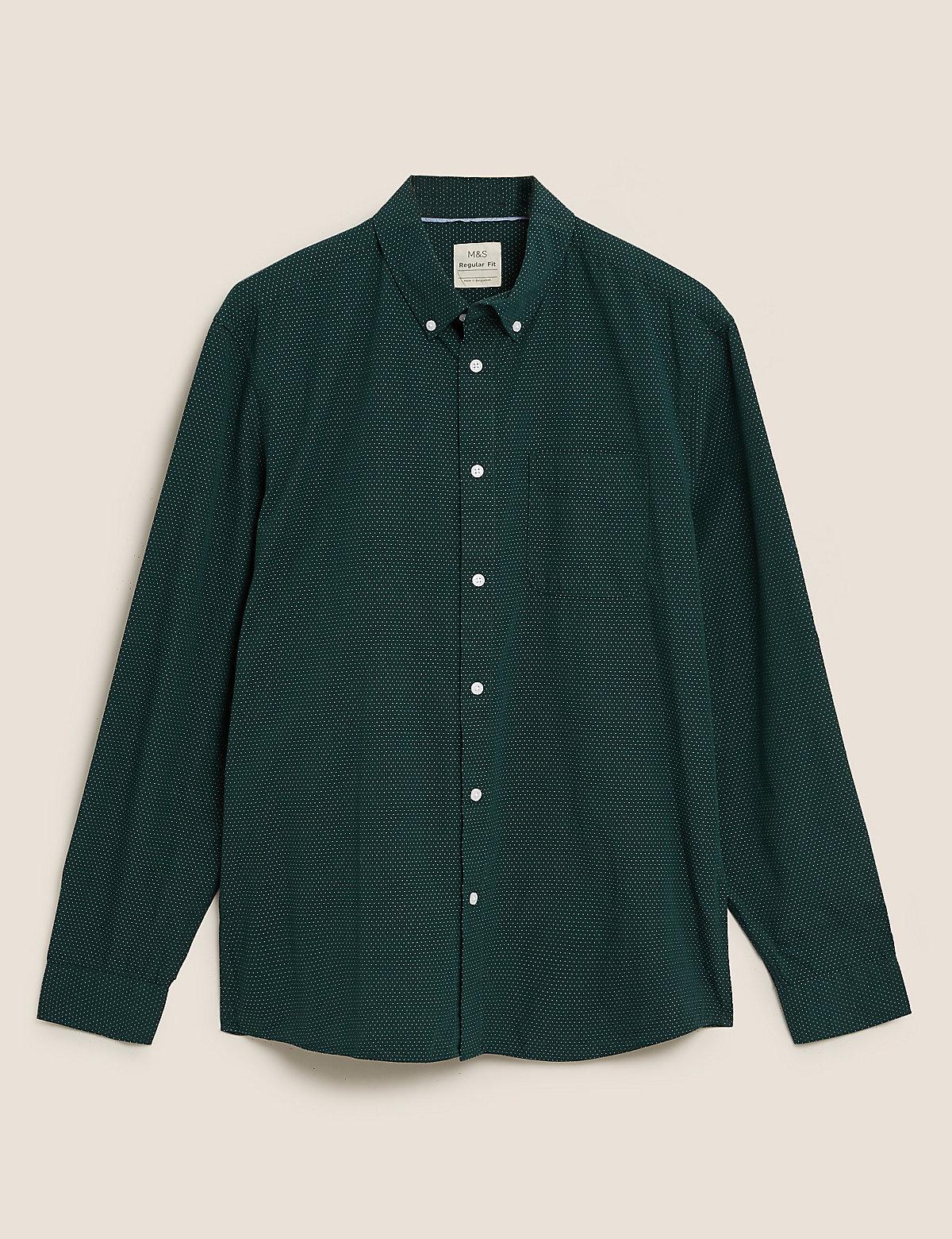 Рубашка из потертого хлопка в горошек