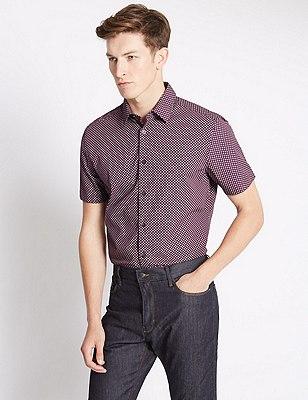 Pure Cotton Geometric Print Shirt, AUBERGINE, catlanding