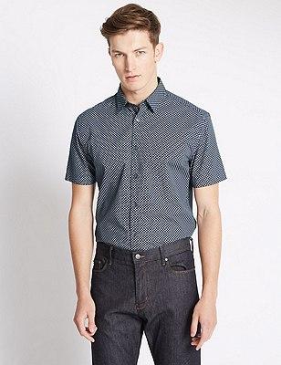 Pure Cotton Geometric Print Shirt, NAVY, catlanding