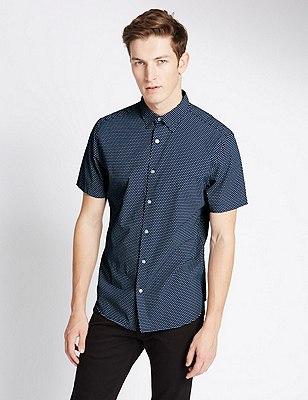 Pure Cotton Tailored Fit Diamond Print Shirt, INDIGO, catlanding