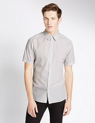 Pure Cotton Tailored Fit Diamond Print Shirt, WHITE MIX, catlanding