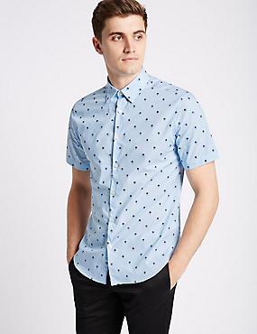 Camisa texturizada 100% algodón de corte ajustado, MEZCLA DE TONOS CAMBRAY, catlanding