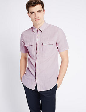 Linen Rich Slim Fit Shirt with Pockets, PINK, catlanding