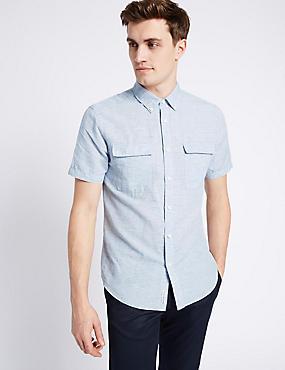 Linen Rich Slim Fit Shirt with Pockets, LIGHT BLUE, catlanding