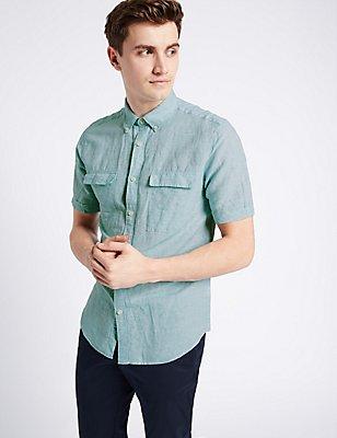 Linen Rich Slim Fit Shirt with Pockets, MINT, catlanding