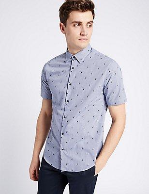 Pure Cotton Slim Fit Textured Shirt , NAVY MIX, catlanding