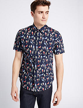 Pure Cotton Slim Fit Printed Shirt , NAVY MIX, catlanding