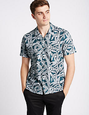 Pure Cotton Slim Fit Printed Shirt, TEAL, catlanding