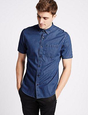 Pure Cotton Slim Fit Shirt with Pocket, INDIGO, catlanding