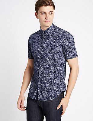 Pure Cotton Slim Fit Floral Print Shirt, ROYAL BLUE, catlanding
