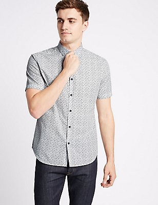 Pure Cotton Slim Fit Textured Shirt, IVORY, catlanding