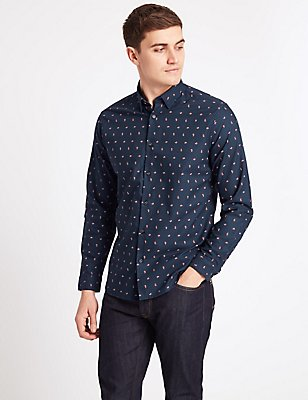 Pure Cotton Slim Fit Printed  Shirt, BLUE, catlanding