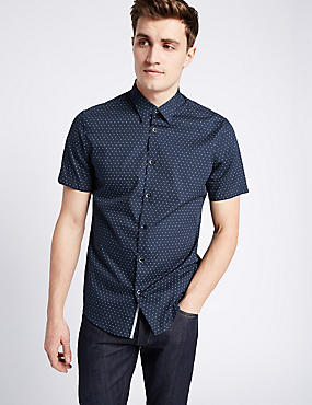 Pure Cotton Slim Fit Printed Shirt, NAVY, catlanding