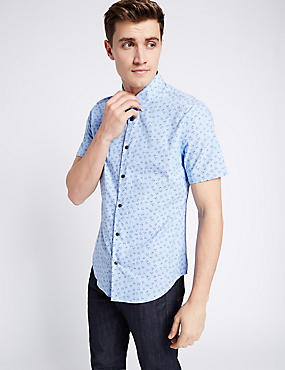 Pure Cotton Slim Fit Printed Shirt, BRIGHT BLUE, catlanding
