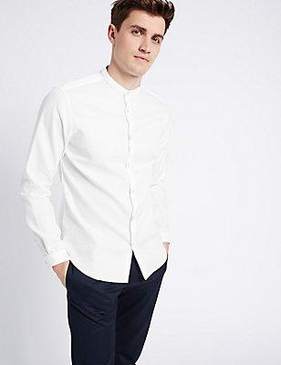 Long Sleeve Textured Grandad Collar Shirt , WHITE, catlanding