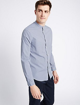 Long Sleeve Gingham Grandad Collar Shirt , NAVY, catlanding