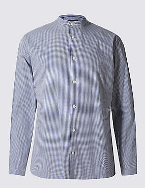Big & Tall Pure Cotton Checked Shirt, NAVY, catlanding