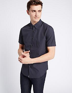 Pure Cotton Slim Fit Printed Shirt, PURPLE, catlanding