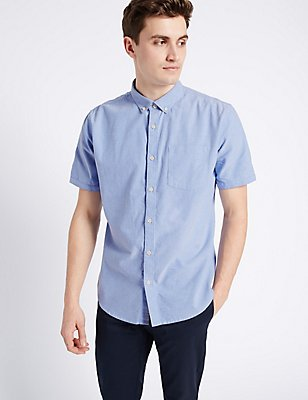 Pure Cotton Slim Fit Oxford Shirt, BLUE, catlanding